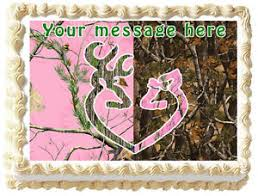 buck and doe cake topper pink camo tree buck and doe image edible cake topper decoration ebay