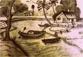 pictures village scenery pencil drawing drawing art gallery