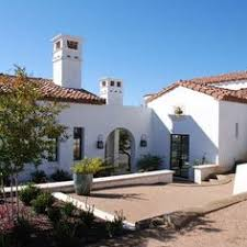 exterior of a spanish style luxury home with stucco walls a red