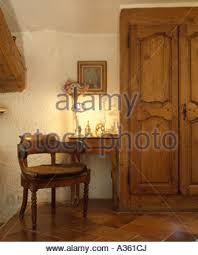 Small Table Lamp Next Antique Wooden Beside Table Set For Lunch With A White Cloth