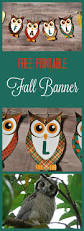 free printable banner for fall with owls and pumpkins