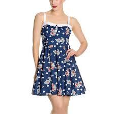hell bunny navy blue 50s nautical mini dress oceana polka dot all