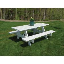 Plans For Picnic Table With Attached Benches by Picnic Tables Patio Tables The Home Depot