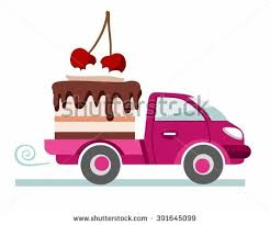 cake delivery cakes pastries delivery coloured picture pink stock vector