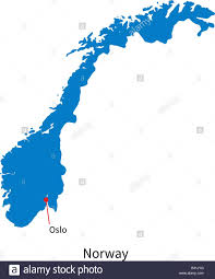 Map Of Norway Detailed Vector Map Of Norway And Capital City Oslo Stock Vector