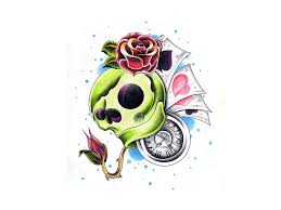 free designs skull with clock and roses tattoo wallpaper clip