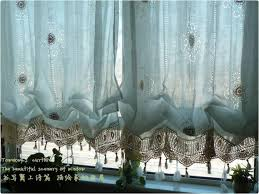 Balloon Curtains For Living Room Pastoral Style Adjustable Balloon Curtain Living Room Shade White