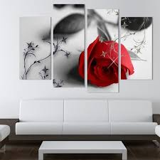 tableau chambre 4 pcs la fleurs image mur image moderne décoration