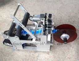 china semi automatic round bottle label applicator with date