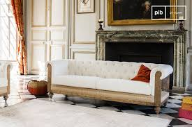 chesterfield canapé sofa chesterfield montaigu entirely made of linen pib