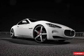 maserati granturismo white black rims vossen wheels maserati gran turismo vossen cv3r