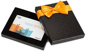 50 gift card in a black gift box birthday