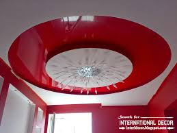 stretch ceilings in interior modern apartment red stretch