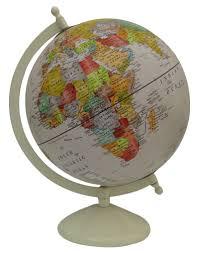large decorative rotating globe world geography beige ocean earth