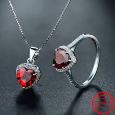 sterling silver rings necklace images Gorgeous garnet with white sapphire sterling silver jewelry set jpg