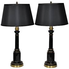 Vintage Brass Table Lamps Vintage Neoclassical Or Regency Style Black Glass And Brass Table