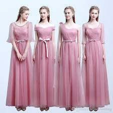 cheap bridesmaid dresses pink blush color tulle lace long maid of