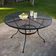 furniture circle glass mini table with black iron woodard wrought