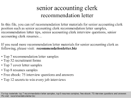 Accounting Clerk Resume Sample by Senior Accounting Clerk Recommendation Letter