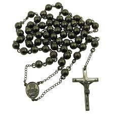 buy rosary mens black stainless steel rosary necklace with cross