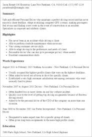Sample Resume Of Ceo by Professional Personal Driver Templates To Showcase Your Talent