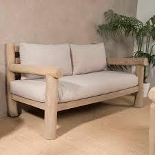 canap 2 places 160 cm canapé sofa 2 places teck coussins 160cm lodge