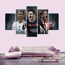 framed art canvas promotion shop for promotional framed art canvas world cup barcelona atletico madrid 5 piece modern painting frame football wall art canvas picture for living room home decor