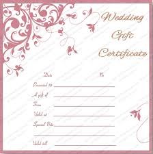 wedding gift certificate templates