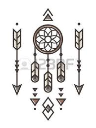 owl outline emblem in geometric style with arrow and