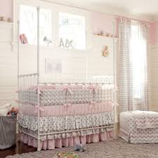 Infant Crib Bedding Pink And Gray Chevron Crib Bedding Carousel Designs