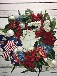 patriotic wreath patriotic door wreath hydrangeas 4th of