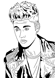justin seated justin bieber close up coloring page coloring page
