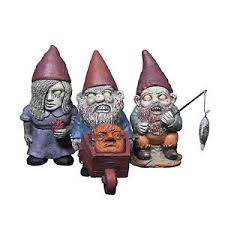 set of 3 mini gnomes scary ornaments garden lawn