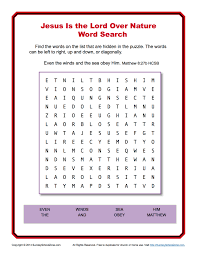 jesus is lord over nature word search sunday activity