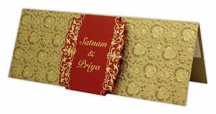 shadi cards golden wedding card with paisley and floral overprint jp458