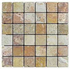 antique blend tumbled travertine mosaic tiles 2x2 natural stone
