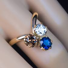 colored rings images Antique sapphire diamond colored diamond trefoil ring antique jpg