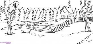 easy drawing winter season draw christmas landscape 12