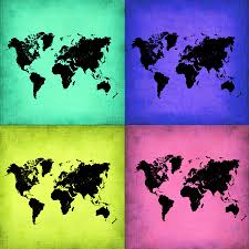 Large World Map Canvas by Pop Art World Map 2 Painting By Naxart Studio