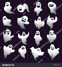 cartoon spooky ghost character collection ghosts stock vector