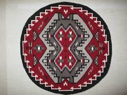 Red Round Rugs by Round Ganado Weaving By Mary Yazzie Navajo Ganado Rug