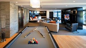 Pool Table In Living Room Furniture Attractive Modern Basement Living Room Using Centered
