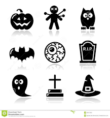 halloween black icons set pumpkin witch ghost on black stock