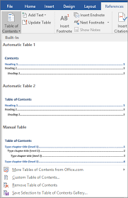 Create A Table Of Contents In Word Word