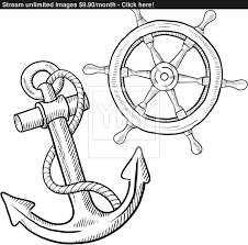 drawn anchor ship wheel pencil and in color drawn anchor ship wheel