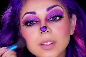 easy face makeup for halloween how to perfect the cheshire cat u0027s purple makeup look for halloween