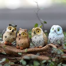 4pcs owls resin crafts miniatures figurine moss terrarium
