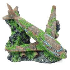 moss covered airplane helicopter wreck aquarium fish tank