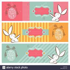 rabbit banner easter egg in tribal style and rabbit banner background set