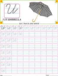 cursive capital letter u practice worksheet handwriting